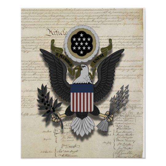 The Eagle Has Landed Quote: American Eagle On The Constitution Poster