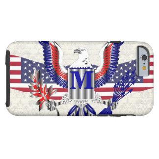 American Eagle patriótico personalizó el monograma Funda De iPhone 6 Tough