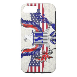 American Eagle patriótico personalizó el monograma Funda iPhone 7