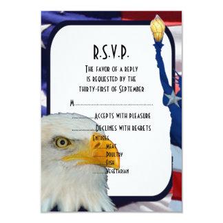 """American Eagle patriótico que casa R.S.V.P Invitación 3.5"""" X 5"""""""