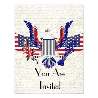American Eagle patriótico y bandera