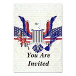 American Eagle patriótico y bandera Invitaciones Personales