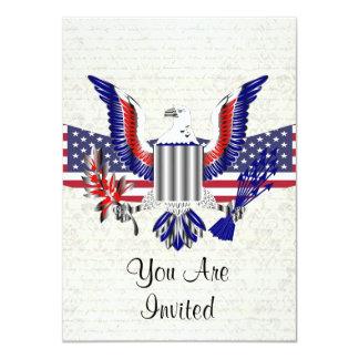 """American Eagle patriótico y bandera Invitación 4.5"""" X 6.25"""""""