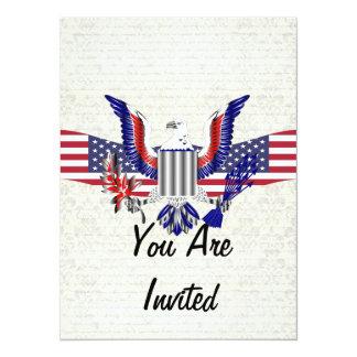 """American Eagle patriótico y bandera Invitación 5.5"""" X 7.5"""""""