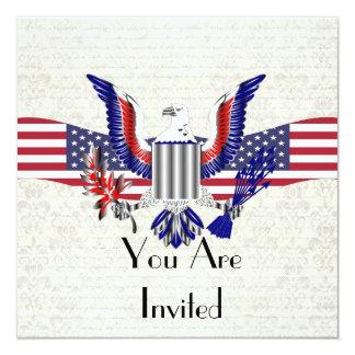"""American Eagle patriótico y bandera Invitación 5.25"""" X 5.25"""""""