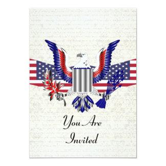 """American Eagle patriótico y bandera Invitación 5"""" X 7"""""""