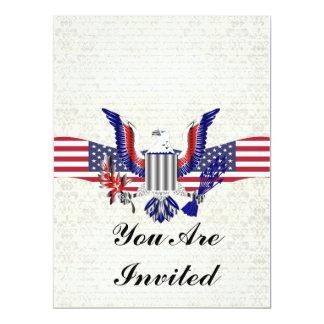 """American Eagle patriótico y bandera Invitación 6.5"""" X 8.75"""""""