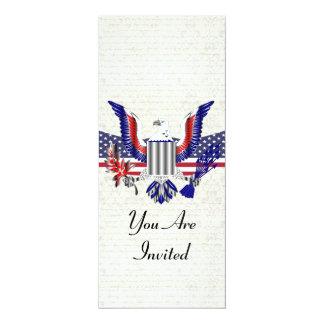 """American Eagle patriótico y bandera Invitación 4"""" X 9.25"""""""