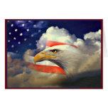 American Eagle patriótico y tarjeta de la bandera