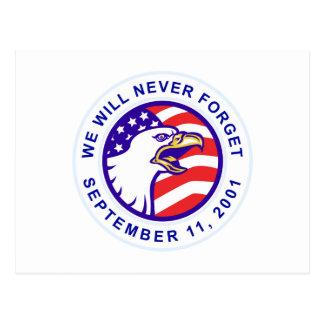 American eagle remember 9-11 USA flag Postcard