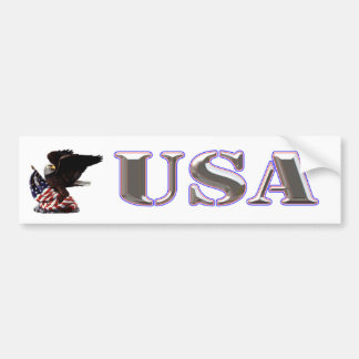 American Eagle Silver USA Red White Blue Trim Bumper Sticker