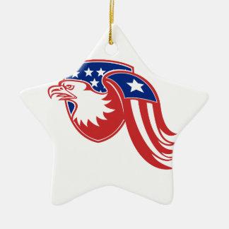 American Eagle Stars and Stripes Flag Shield Retro Ceramic Ornament