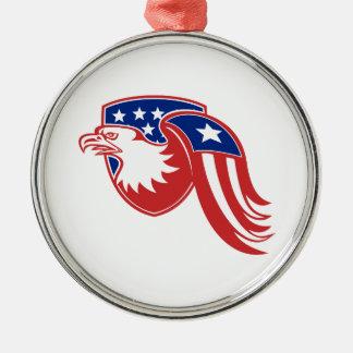 American Eagle Stars and Stripes Flag Shield Retro Metal Ornament
