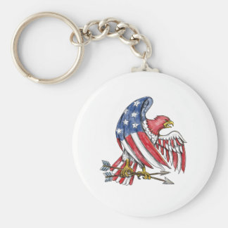 American Eagle Stars and Stripes Flag Tattoo Keychain