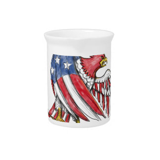 American Eagle Stars and Stripes Flag Tattoo Pitcher
