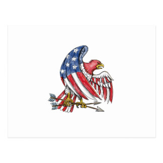 American Eagle Stars and Stripes Flag Tattoo Postcard