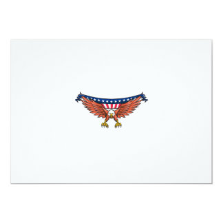 American Eagle Swooping USA Flag Retro Card