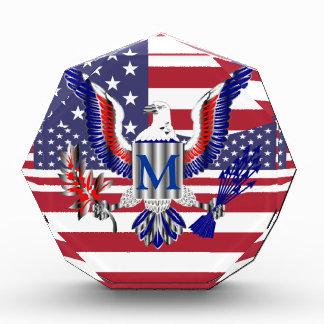 American eagle symbol and flag acrylic award