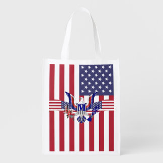 American eagle symbol and flag reusable grocery bag