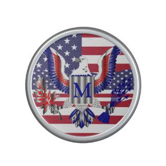 American eagle symbol and flag speaker
