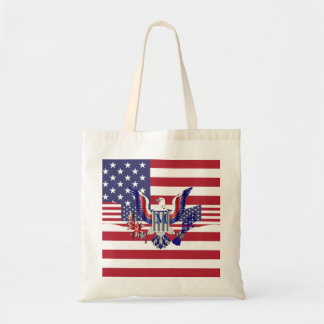 American eagle symbol and flag tote bag