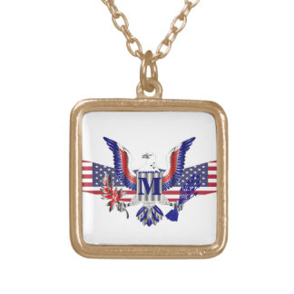 American eagle symbol gold plated necklace