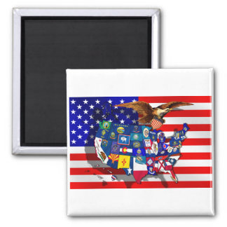 American Eagle US flag USA states flags of America 2 Inch Square Magnet