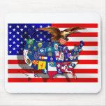American Eagle US flag USA states Mouse Pads