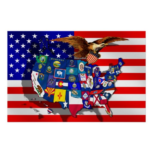 American Eagle USA Flag US State Flags Map Poster Zazzlecom - Us state flag map