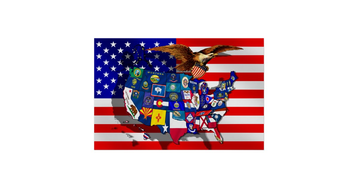 American Eagle Usa Flag Us State Flags Map Poster Zazzlecom - Us-map-with-state-flags