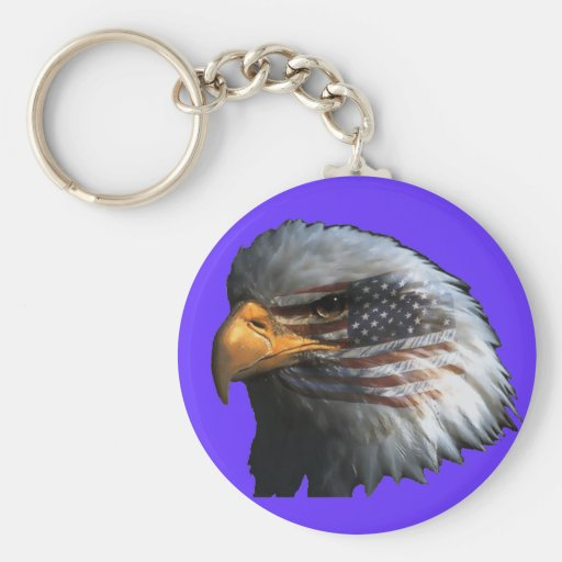 American Eagle with Flag Keychain