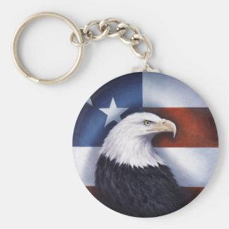 American Eagle y bandera Llavero Redondo Tipo Pin