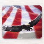 American Eagle y bandera Mousepad Tapete De Ratones