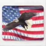 American Eagle y bandera Mousepad Tapetes De Ratón