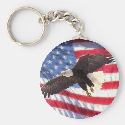 American Eagle y llavero de la bandera