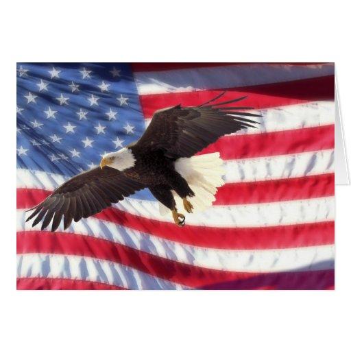 American Eagle y tarjeta de nota de la bandera