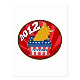 American election ballot box map of USA 2012 Post Card