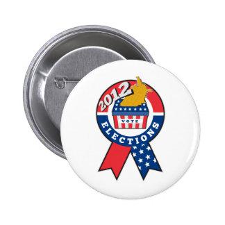 American election ballot box map of USA ribbon 201 Pinback Button