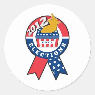 American election ballot box map of USA ribbon 201 Classic Round Sticker