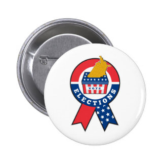 American election ballot box map of USA ribbon Pin