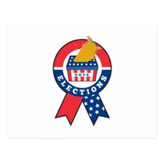 American election ballot box map of USA ribbon Post Card