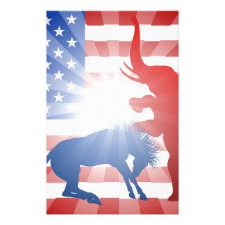 American Election Concept Elephant Beating Donkey Stationery