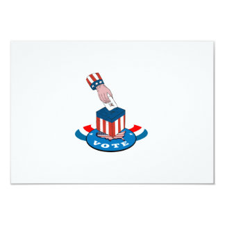 American Election Voting Ballot Box Retro 3.5x5 Paper Invitation Card