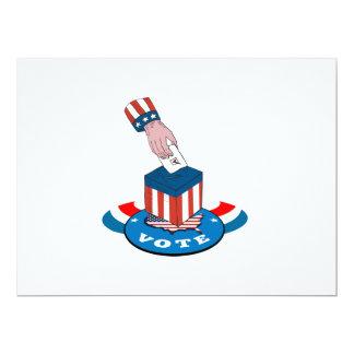 """American Election Voting Ballot Box Retro 6.5"""" X 8.75"""" Invitation Card"""