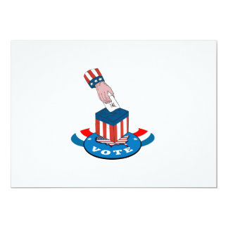 """American Election Voting Ballot Box Retro 5"""" X 7"""" Invitation Card"""