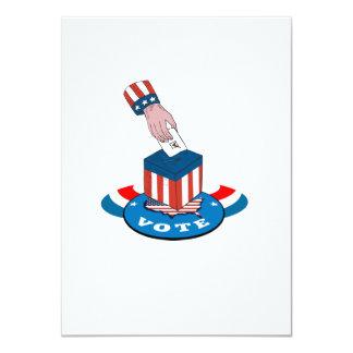 """American Election Voting Ballot Box Retro 4.5"""" X 6.25"""" Invitation Card"""