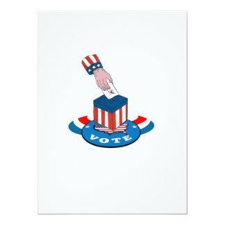 """American Election Voting Ballot Box Retro 5.5"""" X 7.5"""" Invitation Card"""