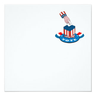 """American Election Voting Ballot Box Retro 5.25"""" Square Invitation Card"""