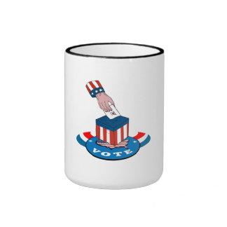American Election Voting Ballot Box Retro Ringer Coffee Mug