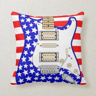 American  Electric Guitar Throw Pillow